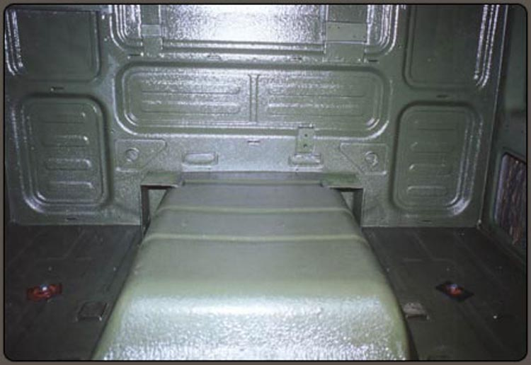 Interior of Military Cab in Camo Green