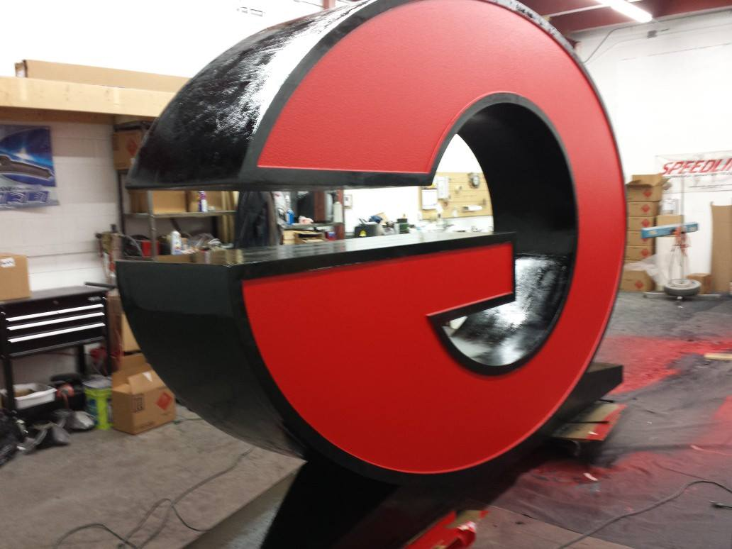 Outdoor Company Logo Protected with Speedliner Spray on Industrial Coating