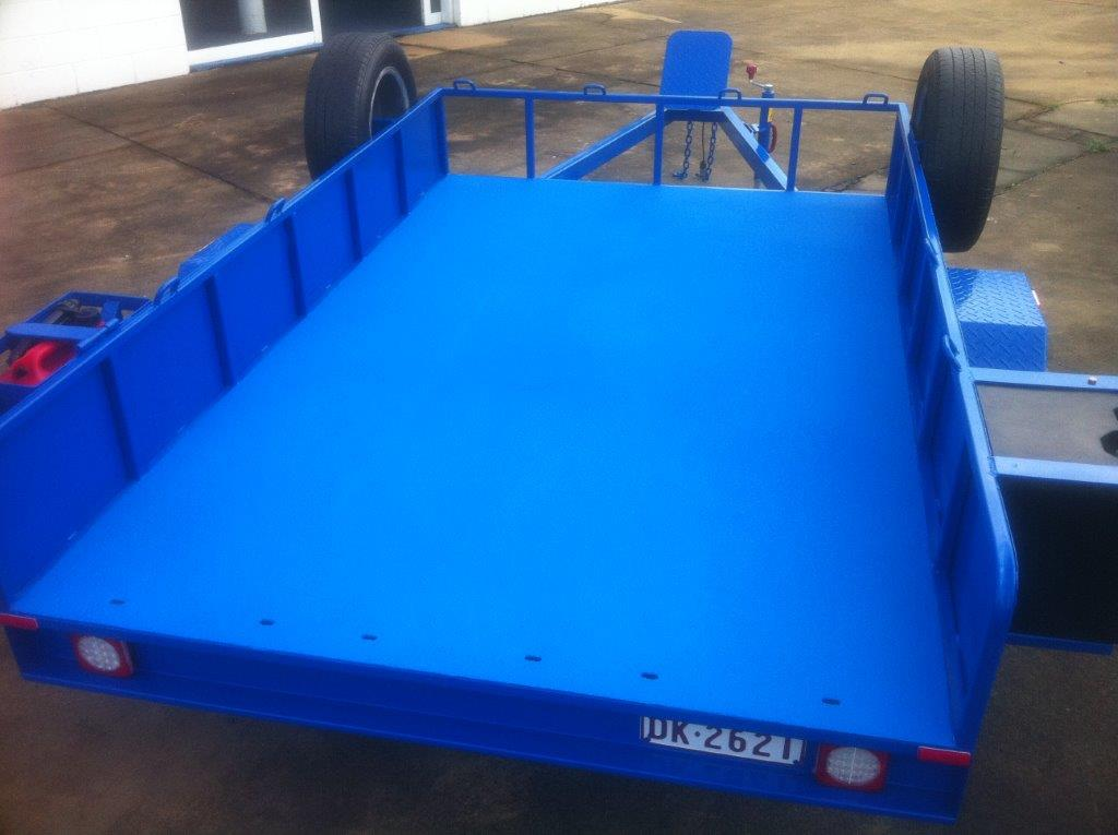 Spray on Liner in Utility Trailer Creates a Non-slip Surface for Protection and Safety