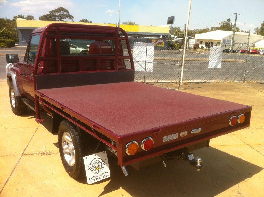 Flatbed Truck with Custom Red Spray on Liner - Match Custom Automotive Colors