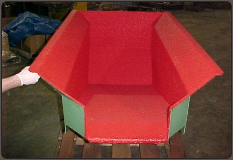 Industrial Coating Applications - Red Speedliner in Hopper Bin