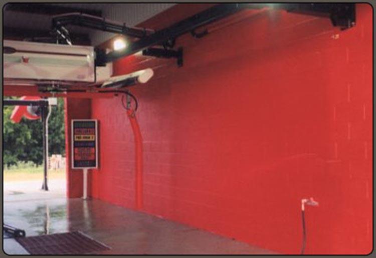 Industrial Coating Applications - Red Speedliner Interior of Car Wash
